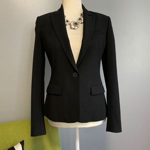 Theory Black Wool Blend Tailored Blazer Jacket